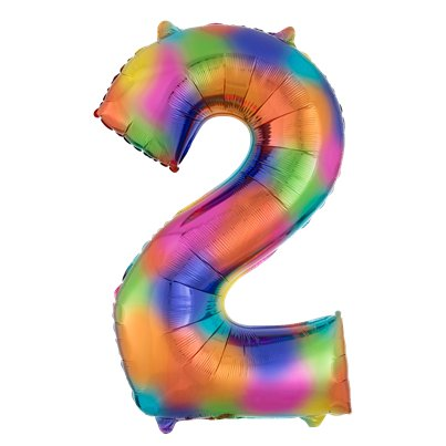"Rainbow Splash Number 2 Balloon - 34"" Foil"