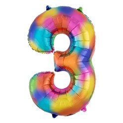 "Rainbow Splash Number 3 Balloon - 34"" Foil"