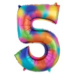 "Rainbow Splash Number 5 Balloon - 34"" Foil"