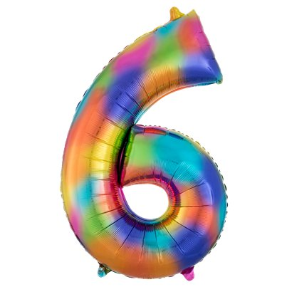 "Rainbow Splash Number 6 Balloon - 34"" Foil"