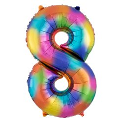 "Rainbow Splash Number 8 Balloon - 34"" Foil"