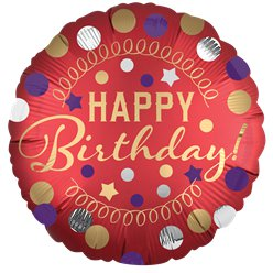"Red Satin Dots Happy Birthday Balloon - 18"" Foil"