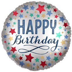 "Silver Satin Stars Happy Birthday Balloon - 18"" Foil"