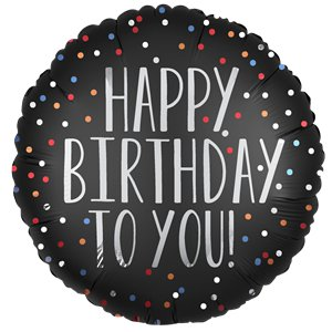 Black Satin Dots Happy Birthday Balloon - 18