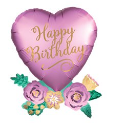 "Birthday Satin Heart Supershape Balloon - 30"" Foil"