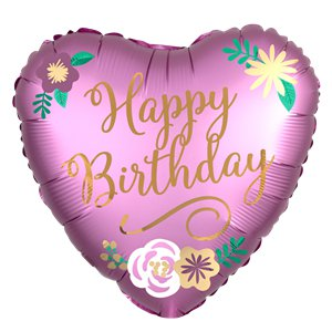 Birthday Satin Heart Balloon - 18