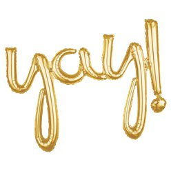 "Gold Yay! Phrase Balloon - 35"" Foil"