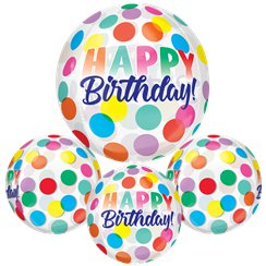 "Happy Birthday Big Dots Orbz Balloon - 16""-18"" Foil"