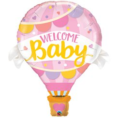 "Welcome Baby Pink Hot Air Balloon SuperShape - 42"" Foil"