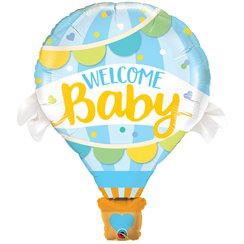 "Welcome Baby Blue Hot Air Balloon SuperShape - 42"" Foil"