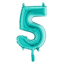 "Tiffany Blue Number 5 Balloon - 14"" Foil"
