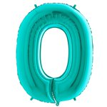 "Tiffany Blue Number 0 Balloon - 40"" Foil"