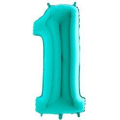 "Tiffany Blue Number 1 Balloon - 40"" Foil"