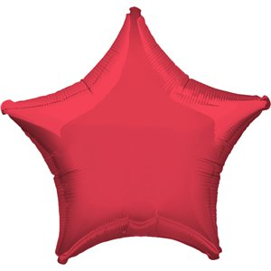 Metallic Red Star Balloon - 19'' Foil - Unpackaged
