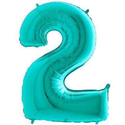 "Tiffany Blue Number 2 Balloon - 40"" Foil"