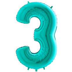 "Tiffany Blue Number 3 Balloon - 40"" Foil"