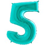 "Tiffany Blue Number 5 Balloon - 40"" Foil"