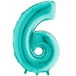 "Tiffany Blue Number 6 Balloon - 40"" Foil"