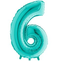 Tiffany Blue Number 6 Balloon - 40
