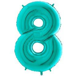 "Tiffany Blue Number 8 Balloon - 40"" Foil"