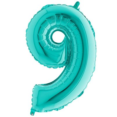 "Tiffany Blue Number 9 Balloon - 40"" Foil"