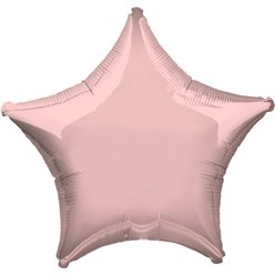 "Metallic Pearl Pastel Pink Star Balloon - 19"" Foil - unpackaged"