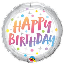 "Rainbow Dots Birthday Balloon - 18"" Foil"