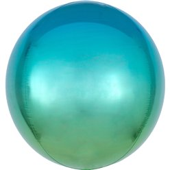 "Ombre Blue & Green Orbz Balloon - 16"" Foil"