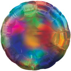 "Rainbow Iridescent Circle Balloon - 18"" Foil - Unpackaged"
