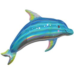 Blue Dolphin Iridescent Supershape Balloon - 29