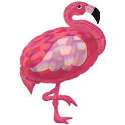 Pink Flamingo Iridescent Supershape Balloon - 33