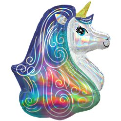 "Rainbow Unicorn Iridescent SuperShape Balloon - 30"" Foil"