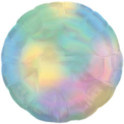"Pastel Rainbow Iridescent Circle Balloon - 18"" Foil - Unpackaged"