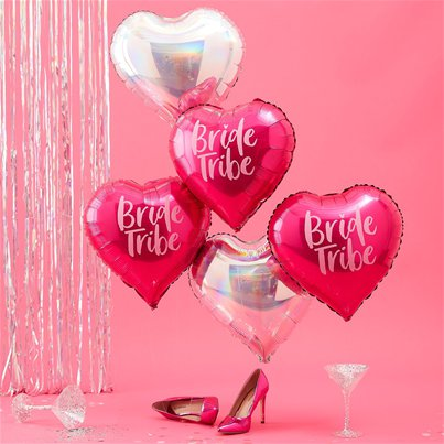 "Bride Tribe Heart Balloons - 18"" Foil"