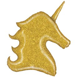 Gold Glitter Unicorn Supershape Balloon - 38