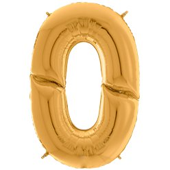 "Gold Number 0 Balloon - 64"" (Foil Balloons)"