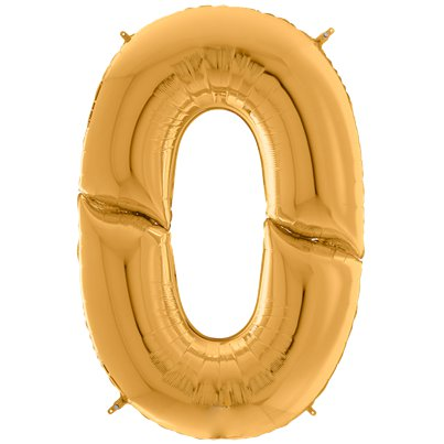 "Gold Number 0 Balloon - 64"" Foil"