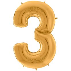 "Gold Number 3 Balloon - 64"" Foil"
