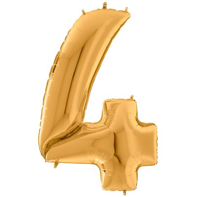 "Gold Number 4 Balloon - 64"" Foil"