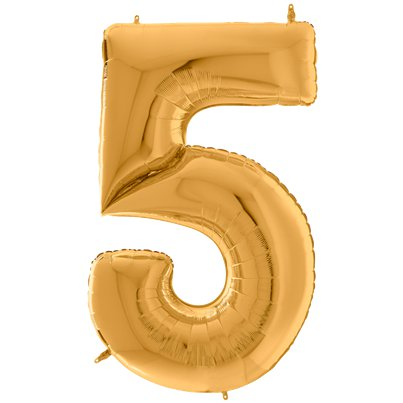 "Gold Number 5 Balloon - 64"" Foil"