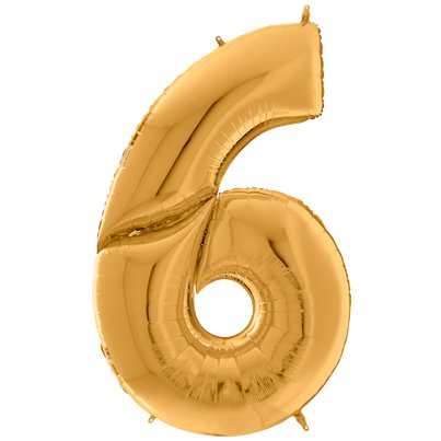 "Gold Number 6 Balloon - 64"" Foil"