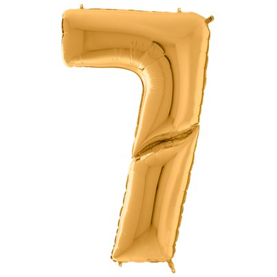 "Gold Number 7 Balloon - 64"" Foil"