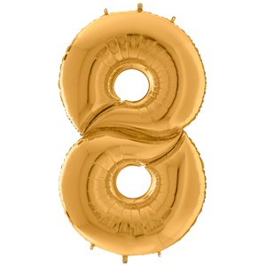 Gold Number 8 Balloon - 64