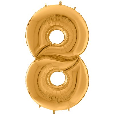 "Gold Number 8 Balloon - 64"" Foil"