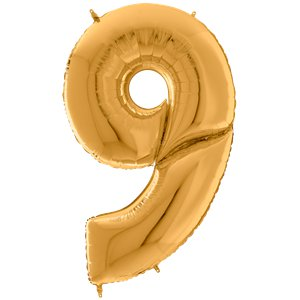 Gold Number 9 Balloon - 64