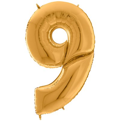 "Gold Number 9 Balloon - 64"" Foil"