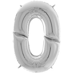 "Silver Number 0 Balloon - 64"" Foil"
