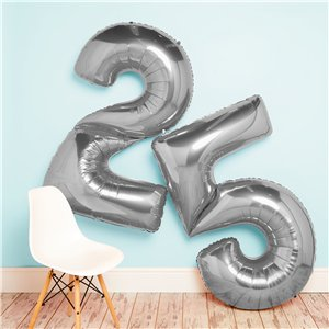 Silver Number 0 Balloon - 64