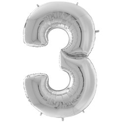 "Silver Number 3 Balloon - 64"" Foil"