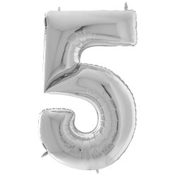 "Silver Number 5 Balloon - 64"" Foil"